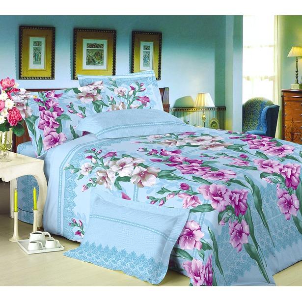 фото Комплект постельного белья Королевское Искушение с компаньоном «Гладиолусы». 2-спальный. Цвет: голубой