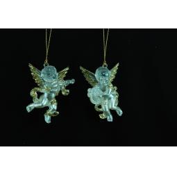 фото Елочное украшение Crystal Deco «Ангелочек с музыкальным инструментом». В ассортименте. Цвет: золотистый