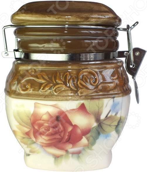 Банка для хранения сыпучих продуктов Коралл «Розы» банка для хранения с ложкой коралл hc2012b d39 розы