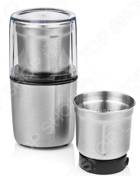 Кофемолка Princess 221040Кофемолки<br>Электрическая кофемолка Princess 221040 отличный выбор для любителей бодрящего и крепкого кофе. С ее использованием вы получите свежемолотый кофе непосредственно перед его завариванием, что в разы усилит вкус и аромат конечного напитка. Прибор также можно использовать в качестве измельчителя для сухих орехи и влажных продуктов томаты, зелень . Ротационные ножи и корпус кофемолки выполнены из высококачественной нержавеющей стали. Модель снабжена нескользящими ножками и отсеком для хранения сетевого шнура.<br>