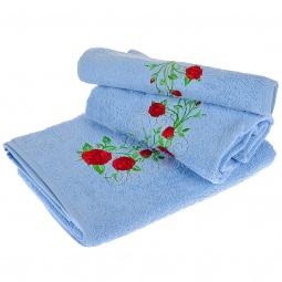 фото Комплект полотенец подарочный TAC Roses. Цвет: голубой