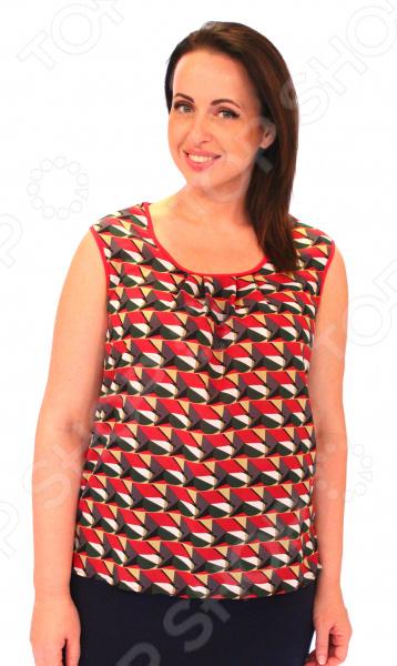 Блуза Элеганс «Алисия». Цвет: красныйБлузы. Рубашки<br>Блуза Элеганс Алисия это легкая и нежная блуза, которая поможет вам создавать невероятные образы, всегда оставаясь женственной и утонченной. Благодаря отличному дизайну она скроет недостатки фигуры и подчеркнет достоинства. Блуза прекрасно смотрится с брюками и юбками, а насыщенный цвет привлекает взгляд. В этой блузе вы будете чувствовать себя блистательно как на работе, так и на вечерней прогулке по городу. Благодаря грамотному дизайну и удобной длине на уровне бедер блуза идеально смотрится на женщинах с любым типом фигуры и любого возраста, а удобные короткие рукава с застежками скрывают полноту плеч. Круглый вырез горловины визуально удлинит горло и подчеркнет плавность черт. Оригинальный принт блузы геометрические узоры имеет важную функцию: яркая расцветка, отвлекает внимание от недостатков и облегчает силуэт. Это классический и эффективный прием, помогающий добиться гармоничных пропорций тела. На фото блуза представлена с юбкой Венера . Блуза сшита из тонкой и приятной к телу ткани 100 полиэстер , благодаря чему материал не скатывается и не линяет после стирки. Швы обработаны эластичными нитями, благодаря чему швы тянутся и не натирают.<br>