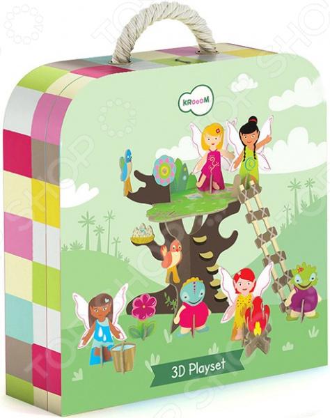 Игровой набор Krooom «Сказочное дерево»Сюжетно-ролевые наборы<br>Игровой набор Krooom Сказочное дерево замечательный 3D-конструктор для маленькой леди. Храбрые феи Гея, Аква, Арья и Дарья, а также их маленькие помощницы-птички окунут ваше чадо в удивительный волшебный мир, где колдовством, заклинаниями, чарами и даром управления стихиями точно никого не удивишь. Фея домашнего очага, повелительница воды, укротительница огня и воздушная чародейка объединяют свои силы, чтобы вместе бороться со злом! Все детали комплекта изготовлены из прочного ламинированного картона с водонепроницаемым покрытием. Соединяются они между собой при помощи специальных защелок, для скрепления не требуется никаких дополнительных инструментов. Детали абсолютно безопасны, не содержат вредных токсичных веществ. Игровой набор станет прекрасным развлечением для вашей малышки. Он эффективно разовьет логическое мышление и мелкую моторику пальчиков, улучшит координацию, обучит ребенка аккуратности, терпению и внимательности, даст волю фантазии и воображению. Ведь никто не знает, что ожидает волшебных персонажей на их пути, а ребенку под силу продумать сюжет сказки самостоятельно и решить, что же произойдет с волшебницами и их подопечными дальше.<br>