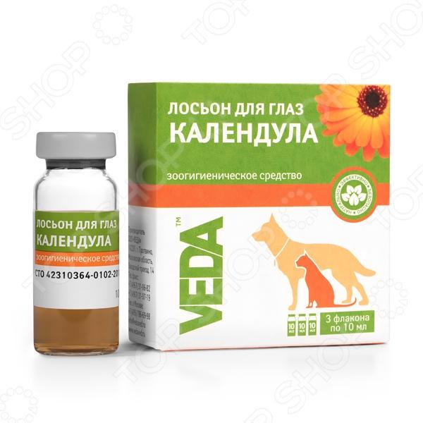Лосьон от слезоточивости у кошек и собак Veda «Календула»Ветаптека<br>Лосьон от слезоточивости у кошек и собак Veda Календула эффективное зоогигиеническое средство, используемое для лечения конъюктивита и слезоточивости глаз. Препарат изготовлен на основе отвара календулы, обладает дезинфицирующим действием и снимает отеки и глазные воспаления. В наборе три флакона с лосьоном.<br>