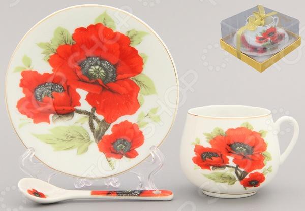 Чашка кофейная с блюдцем и ложкой Elan Gallery «Маки» чашка чайная с блюдцем elan gallery изысканность