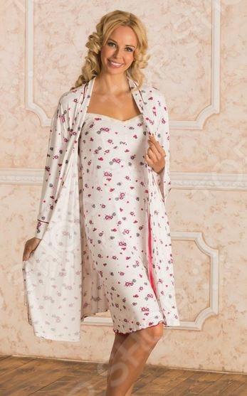 Комплект: халат и сорочка для беременных Nuova Vita 714.1. Цвет: красный для беременных диета