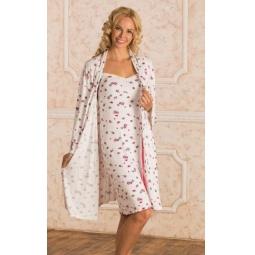 Купить Комплект: халат и сорочка для беременных Nuova Vita 714.1. Цвет: красный