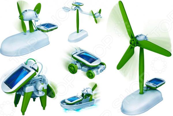 Конструктор на солнечных батареях 6 в 1Другие виды конструкторов<br>Конструктор на солнечных батареях 6 в 1 - оригинальный и необычный конструктор, который станет замечательным подарком для ребенка. Энергосберегающие технологии добрались и до игровой индустрии. Данная модель работает на солнечных батарейках, а главное стоит отметить, что для ее подзарядки подходит не только дневной свет, но и искусственный. Solar Robot 6 in 1 представляет собой совершенно уникальный конструктор, состоящий из 25 деталей, которые очень легко собираются и для этого не требуются ни винты ни отвертки. В зависимости от способа сборки, можно получить 6 совершенно разных игрушек: автомобиль, ветряную мельницу, самолет, лодку или робо-собаку. Каждая полученная фигура, благодаря солнечной батареи легко приводится в движение. Такой набор понравиться не только детям, но и взрослым, поэтому он позволит с интересом провести время всей семьей.<br>