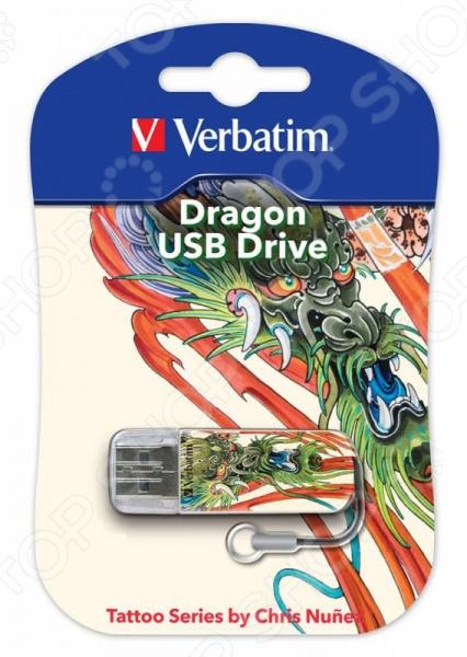 Флешка Verbatim Store 'n' Go Mini Tattoo Dragon 16Gb verbatim store n go tattoo dragon 49888 16гб