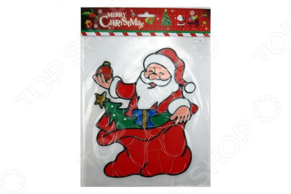 Новогодняя наклейка на стекло Crystal Deco «Санта с подарками» 1707850