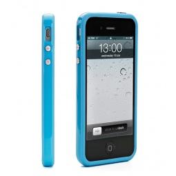 фото Чехол и пленка на экран Muvit Bumper Case для iPhone 5. Цвет: голубой