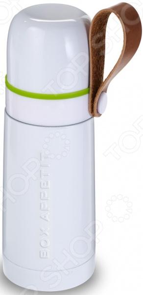 Термос Black+Blum Box AppetiteТермосы и термокружки<br>Термос Black Blum Box Appetite компактное и удобное в использовании изделие, которое поможет сохранить нужную температуру напитков в течение длительного времени. Тепло сохраняется до 8-ми часов, напитки при низкой температуре сохраняют прохладу около 24-х часов. Удобная рукоятка-петля из натуральной кожи помогает придерживать термос при переливании жидкости, а специальная кнопка на горлышке не даст содержимому вытечь.<br>