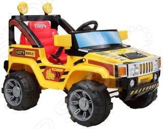 Электромобиль для малыша Пламенный Мотор Джип транспорт с электроприводом для езды по твердым ровным поверхностям. Модель имеет яркую окраску и оригинальный дизайн. Электромобиль даст ребенку начальные навыки вождения, подарит небывалую радость и веселье, а прогулки станут еще интереснее. Есть функция радиоуправления, поэтому родитель может взять на себя контроль над электромобилем. Предназначен для детей возрастом от 3-х до 8-ми лет. Основные характеристики:  Размеры автомобиля ДхШхВ : 108х71х75 см.  Двигатель: 2х6V, 28W.  Аккумулятор: 2х6V, 10AH.  Скорость движения: 3- 5 км ч.  Грузоподъемность: 30 кг.