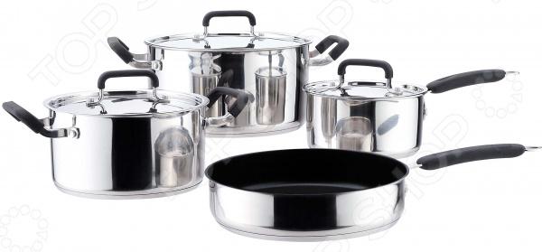 Набор посуды для готовки Bekker Premium BK-2708Наборы посуды для готовки<br>Набор посуды для готовки Bekker Premium BK-2708 комплект необходимой кухонной утвари в арсенале любой хозяйки. Качественный и долговечный набор предназначен для приготовления здоровой и экологически чистой пищи. В набор входят 2 кастрюли с различным объемом, подходящие к ним крышки, большая сковорода и ковш с крышкой объемом 1,8 л. Изделия выполнены из качественной нержавеющей стали, которая проходит тщательную проверку качества. Этот технологичный материал обеспечивает не только быстрый нагрев, но и долгое сохранение тепла, поэтому ваши блюда смогут дойти самостоятельно, сохраняя все ароматы и вкусовые качества. Внутренняя поверхность сковороды имеет качественное антипригарное покрытие Xylan Plus, а у кастрюль мерная шкала на внутренних стенках. Другой особенностью изделий является их капсулированное дно, которое обладает прекрасными термоаккумулирующими характеристиками. Крышки выполнены из аналогичной стали. Кастрюли, сковорода и ковш оформлены ручками из нержавеющей стали с силиконовыми накладками, которые не нагреваются во время готовки. Посуда подходит для приготовления на различных варочных поверхностях, кроме индукционных плит. Гладкая, почти зеркальная, поверхность придает набору стильный и современный внешний вид, поэтому готовка с таким набором будет не только удобной, но и эстетичной.<br>