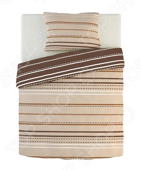 Фото Комплект постельного белья Dormeo Warm Hug. 1-спальный. Цвет: коричневый, кремовый. Вид: полоска