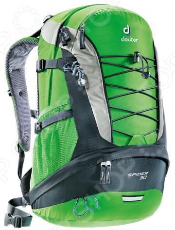 Рюкзак городской Deuter Daypacks Spider 30Рюкзаки<br>Рюкзак городской Deuter Daypacks Spider 30 классический городской рюкзак, который идеально подойдет, как для школьников, так и для студентов и простых офисных работников. Эта модель также будет удобна во время туристических походов и поездок на природу, велопрогулок. Основное отделение оснащено просторным основным отсеком позволяет загрузить рюкзак книгами, большими папками, боксами с ланчами и прочими необходимыми предметами. Передний карман с двумя сетчатыми карманами внутри идеально подходит для органайзера, где все ручки, основные документы и телефон находятся в пределах досягаемости. Дно рюкзака выполнено из высококачественно полиэстерового материла, который придает изделию дополнительную прочность и практичность. Боковая стяжка позволяет самостоятельно регулировать толщину рюкзака в зависимости от его наполненности. Рюкзак способен вместить до 30 литров. Другие особенности данной модели городского рюкзака:  анатомическая спинка с инновационной системой Airstripes обеспечивает эффективную вентиляцию и надежное прилегание к спине;  мягкие лямки позволяют равномерно распределить нагрузку на спину;  для более надежной фиксации предусмотрено набедренное и нагрудное крепление, которые можно самостоятельно регулировать;  поясной ремень можно снять;  эластичный корд для крепления дополнительного снаряжения;  петля для фонарика безопасности с световым отражателем;  карабинчик для ключей;  отделение для мокрой одежды;  нижнее отделение имеет съемную перегородку. Изделие отличается не только своими прекрасными характеристиками, но и оригинальным современным дизайном.<br>