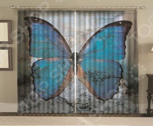 Комплект фотоштор МарТекс «Мраморная бабочка»Фотошторы<br>Комплект фотоштор МарТекс Мраморная бабочка отличный способ красиво оформить интерьер помещения. Шторы из тонкой и жёсткой ткани, сделанная из полиэстера путем скручивания двух волокон. Они практически не мнутся, легко отстирываются от загрязнений, не притягивают пыль и не требуют глажки, поэтому смогут на долгие годы сохранить первоначальный цвет и вид изделия. Шторы декорированы красочным фотопринтом, который создаст комнате особый вид. Такие шторы станут отличным дополнением для частных домов и квартир.<br>