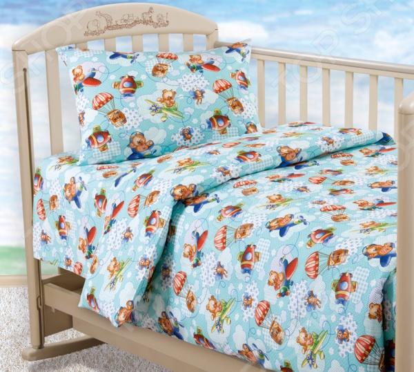 цена Детский комплект постельного белья Бамбино «Самолетики» онлайн в 2017 году