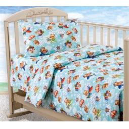 фото Ясельный комплект постельного белья Бамбино «Самолетики»
