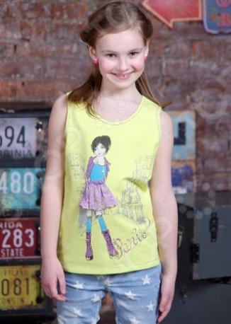 Майка для девочек Detiland SS15-UBL-GTP-951. Цвет: лайм