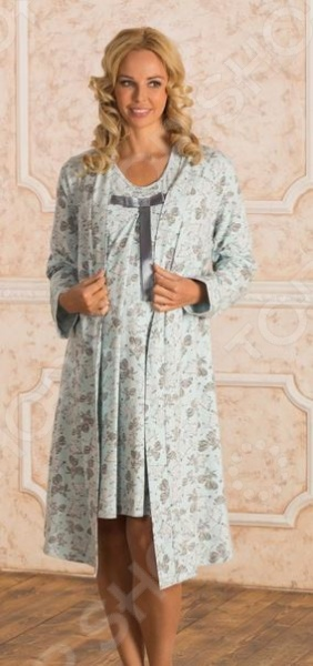 Комплект: халат и сорочка для беременных Nuova Vita 316.2. Цвет: голубой