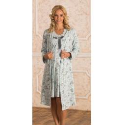 Купить Комплект: халат и сорочка для беременных Nuova Vita 316.2. Цвет: голубой