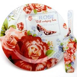 фото Тортовница с лопаткой Loraine «Розы»