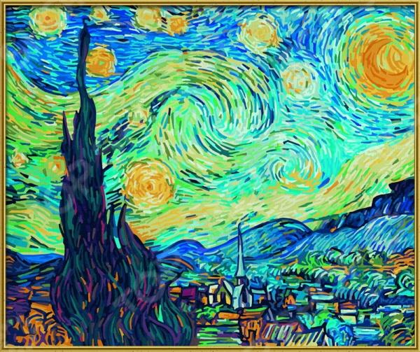 Набор для рисования по номерам Schipper Ван Гог «Звездная ночь»Наборы для рисования по номерам<br>Набор для рисования по номерам Schipper Ван Гог Звездная ночь это отличная раскраска, которая точно понравится любителям заниматься изобразительным искусством. Живопись по числам становится очень популярной, ведь картин огромное множество и вы можете подобрать именно то, что хочется вам. В процессе рисования человек открывает душу, чувствует связь с миром и со своей глубинной сущностью. Процесс рисования представляет собой процесс создания фантастического мира, в котором все будет идеальным. Во время раскрашивания ребенок развивает мелкую моторику пальцев, фантазию и усидчивость. Но, такая картина может стать прекрасным подарком и для взрослого человека, ведь рисование так успокаивает после трудового дня. Размер картины: 60х50 см.<br>