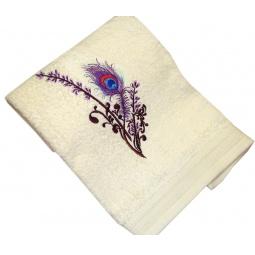 фото Полотенце подарочное с вышивкой TAC Feather. Цвет: бежевый