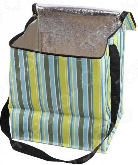 Сумка изотермическая Bradex CoolerТермосумки, сумки-холодильники<br>Сумка изотермическая Bradex Cooler обеспечивает длительное хранение продуктов питания и напитков при исходной температуре. Внутреннее покрытие сумки представлено прочным непромокаемым материалом алюминиевой фольгой, крышка-клапан надежно закрывается на двустороннюю молнию. Имеется длинная удобная рукоятка. Внешняя часть изделия представлена плотной хлопковой тканью. Сумка просто незаменима во время длительных поездок, походов и отдыха на свежем воздухе. В течение 12 часов содержимое сохраняет исходную температуру, а вместе с ней и свои вкусовые качества. Теплые блюда предварительно необходимо тщательно упаковать, а холодные поместить в морозильную камеру. Для этого лучше всего использовать емкости из стекла или металла. Для очищения внутренней стороны сумки лучше всего использовать сухие салфетки или влажную губку без чистящих средств. Нельзя оставлять сумку под прямыми солнечными лучами. Изделие не рекомендуется стирать в машине.<br>