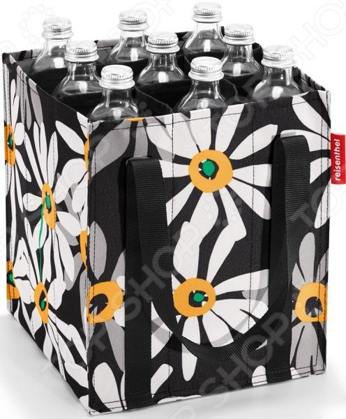 Сумка-органайзер для бутылок Reisenthel Bottlebag MargariteСумки для покупок<br>Сумка-органайзер для бутылок Reisenthel Bottlebag Margarite многофункциональное изделие, которое порадует вас своим стильным дизайном и практичностью. Разделенная на девять отделений сумка легко вместит бутылки с соком, молоком, сладкой водой и прочими любимыми напитками. Стеклянные емкости в процессе переноски не будут стукаться друг о друга и сохраняться в целости и невредимости. Органайзер также подойдет для хранения кухонных мелочей, предметов личной гигиены, аксессуаров и косметики. Каждое отделение вмещает емкость объемом до 0,75 литра. По бокам имеются две рукоятки, скрепляемые при помощи перепонки-липучки. В сложенном виде сумка занимает совсем немного места, что очень удобно. Размер дна изделия соответствует габаритам стандартных велосипедных корзин, поэтому смело берите органайзер на пикник или в поход он принесет вам много пользы.<br>
