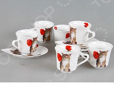 Кофейный набор Rosenberg 8655Чайные и кофейные наборы<br>Набор кофейный Rosenberg 8655 оригинальный набор великолепно выполненных предметов для распития напитков. Набор состоит из 6 небольших, оригинально декорированных чашек, которые прекрасно подойдут для организации кофейной церемонии. Чашки изготовлены из качественного материала. Все чашки располагаются на своём блюдце. Размер блюдца 13х10 см. Красивое оформление стола как праздничного, так и повседневного это целое искусство. Правильно подобранная посуда это залог успеха в этом деле.<br>