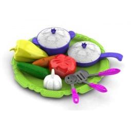 фото Игровой набор для девочки Нордпласт «Волшебная хозяюшка. Посуда и овощи»