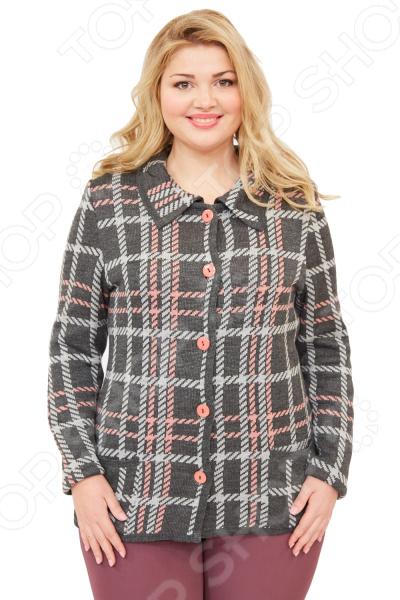 Жакет Milana Style «Тенерифе»Жакеты. Пиджаки<br>Жакет Milana Style Тенерифе создан с учетом всех особенностей женской фигуры, чтобы вы могли легко создать неповторимый и элегантный женственный образ. Благодаря продуманному дизайну модель идеально подойдет женщинам с любым типом фигуры и любого возраста. Этот жакет прекрасен как для повседневного использования, так и для торжественных случаев.  Удлиненный жакет полуприлегающего силуэта с отложным воротником и застежкой на пуговицы.  Яркий узор в клетку смотрится очень эффектно.  Отделка в цвет основного полотна.  Предусмотрены карманы.  На фотографии жакет представлен в сочетании с брюками Маленькая Венеция .  Создан для прохладной погоды. Жакет изготовлен из мягкого вязанного полотна, состоящего на 30 из шерсти и на 70 из пана. Материал не линяет, не скатывается, формы от стирки не теряет.<br>