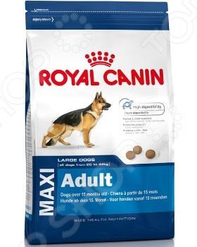 Корм сухой для собак крупных пород Royal Canin Maxi AdultСухой корм<br>Корм сухой для собак крупных пород Royal Canin Maxi Adult повседневный рацион для более сбалансированного питания питомца. Корм обогащен легко усваиваемыми протеинами и жирами. Также содержит питательный комплекс витаминов и микроэлементов, которые способствуют укреплению костей, повышению тонуса мышц, а также правильной работе кишечника. Такой корм подойдет собакам взрослым, крупных пород, в возрасте от 1 до 7 лет, весом 26-44 кг. Особенности корма Royal Canin Maxi Adult:  Содержит антиоксиданты витамины Е и С способствуют замедлению процесса старения, а также поддержанию жизнеспособности.  Улучшает работу сердца;  Обеспечивает здоровье пищеварительной системы.  Укрепляет кости и суставы.  Сокращает образование зубного налета. Для нормального самочувствия вашего питомца следует придерживаться нормы кормления. Также следите за тем, чтобы у вашей собаки была чистая и свежая вода в миске.<br>