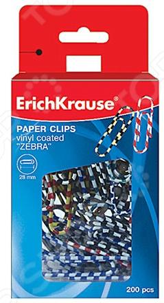 Скрепки канцелярские Erich Krause Зебра это незаменимые офисные помощники. С их помощью вы легко наведете порядок на рабочем месте, собрав разбросанные по столу бумаги и документы в аккуратные стопки и пачки. Скрепки покрыты разноцветным виниловым слоем и упакованы в пластиковую коробку в количестве 200 штук. Длина скрепки составляет 28 мм, что гарантирует надежный захват листов.