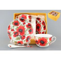 Купить Чайная пара с ложками Elan Gallery «Маки» 730478