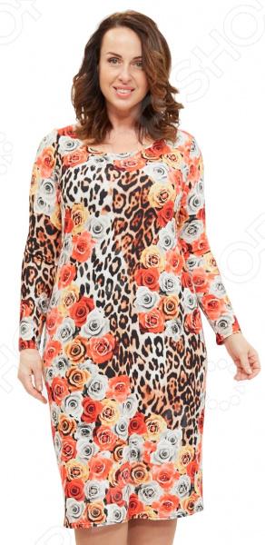 Платье Матекс «Фантазия». Цвет: оранжевыйПовседневные платья<br>Платье Матекс Фантазия это легкое платье, которое поможет вам создавать невероятные образы, всегда оставаясь женственной и утонченной. Грамотный крой и цвет скрывают недостатки фигуры и подчеркивают достоинства. В этом платье вы будете чувствовать себя блистательно как на празднике, так и на вечерней прогулке по городу.  Яркое платье с чарующим узором и оригинальным оформлением спинки: сзади расположен декоративный элемент, вставка из сеточки и вертикальная однотонная полоска.  Особенность фасона в том, что при желании спинка платья может стать его передом. Выберите тот вариант, который вам по душе.  Круглый вырез горловины подчеркнет красоту вашей шеи.  За счет своего оформления и фасона смотрится очень эффектно без всяких дополнительных аксессуаров. Платье сшито из приятной трикотажной ткани, состоящей на 100 из полиэстера. Материал не линяет, не скатывается, формы от стирки не теряет.<br>