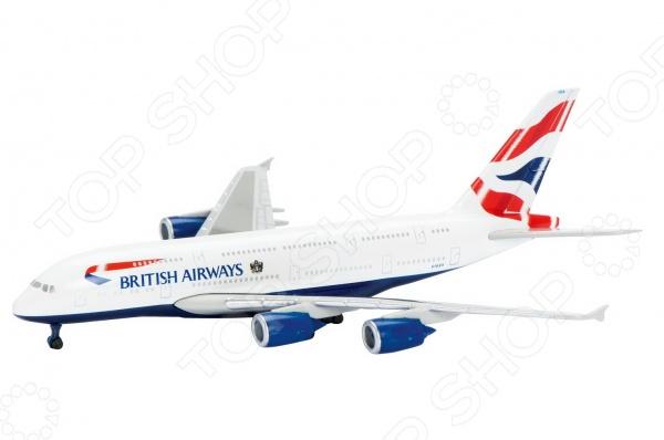 Самолет коллекционный Schabak British Airways A380-800Самолеты. Вертолеты<br>Самолет коллекционный Schabak British Airways A380-800 представляет собой точную копию настоящего воздушного судна. Особенность коллекции в том, что все модели изготовлены по лицензии именитых производителей. Самолет с элементами пластика обладает потрясающей детализацией. Выполнена из металла цинк , на шасси и подставка. Колеса не крутятся. Яркий самолетик разнообразит игровые ситуации, откроет новые сюжеты для маленького летчика и поможет развить мелкую моторику рук, внимание и координацию движений. Игра с ним подарит незабываемое времяпрепровождение, позволит вашему малышу почувствовать себя настоящим пилотом и научит бережно управляться с вещами. Выполнен в масштабе 1:600.<br>