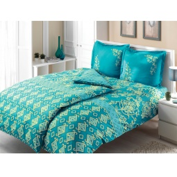 фото Комплект постельного белья TAC Catrin. Семейный. Цвет: голубой