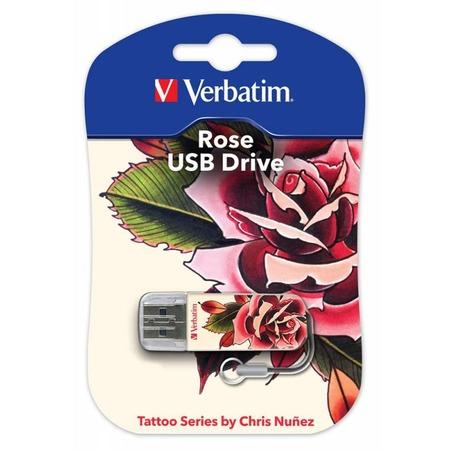 Купить Флешка Verbatim Store 'n' Go Mini Tattoo Rose 16Gb