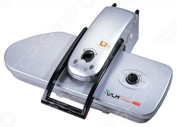 Пресс гладильный VLK 3100Парогенераторы<br>Пресс гладильный VLK 3100 качественный и очень полезный прибор, который можно использовать как в домашних условиях, так и в производственной сфере. Благодаря этому устройству процесс глажки становится максимально эффективным, быстрым и качественным. Для обработки подойдут самые разнообразные вещи, начиная от нижнего белья, завершая скатертями и постельными комплектами. Пресс обладает значительно более высокой мощностью, нежели обычный утюг. Размер рабочей области составляет 65х27 см, что значительно сокращает весь процесс глажки. А нагрев осуществляется в течение 5-6 минут. Прибор оснащен ручкой с автоматической подачей давления на максимально возможном уровне и системой контроля температурного режима. Благодаря тефлоновому покрытию рабочей поверхности процесс глажки осуществляется бережно по отношению к любым типам ткани. Устройство имеет эргономичный стильный дизайн, за счет чего прекрасно впишется в интерьер любого помещения. Прессом можно пользоваться как в сидячем положении, так и стоя. Его также удобно переносить с места на место. Диапазон температур: 60-220 градусов, давление прессования 50 кг. Длина шнура питания 2,4 метра.<br>
