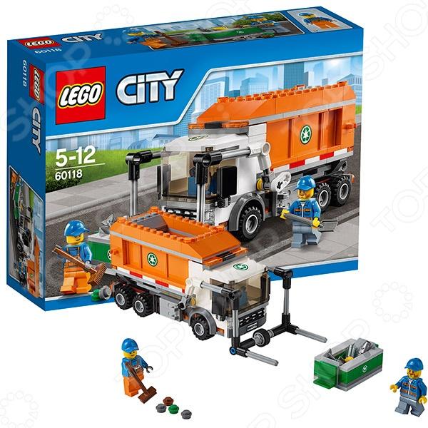 Конструктор игровой для ребенка LEGO «Мусоровоз»Конструкторы LEGO<br>Конструктор игровой для ребенка Lego Мусоровоз комплект для развлечения, он обязательно понравится ребенку, потому как сможет самостоятельно собрать целую композицию, с которой можно играть. Играя с конструктором, ребенок будет развивать пространственное и логическое мышление, творческие способности и мелкую моторику рук. Кроме того, с получившейся игрушкой он сможет самостоятельно придумывать различные игровые ситуации, развивая тем самым и фантазию. Мусоровоз полностью функционален у него двигаются колеса, поднимается погрузчик, а кузов работает как самосвал. В комплекте Вы найдете две минифигурки и множество различных аксессуаров и принадлежностей: мусорный контейнер, лопата, швабра и даже мусор.<br>