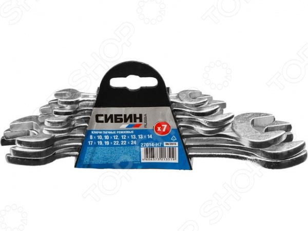 Набор ключей рожковых Сибин 27014-H7Рожковые ключи<br>Набор ключей рожковых Сибин 27014-H7 набор инструментов, используемых для завинчивания и отвинчивания крепежных деталей. Он станет отличным дополнением к комплекту ваших слесарных инструментов и пригодится при выполнении монтажных и демонтажных работ дома, на даче, в гараже и т.д. Ключи выполнены из высококачественного металла и снабжены, защищающим от коррозии, цинковым покрытием. В комплекте семь рожковых гаечных ключей.<br>