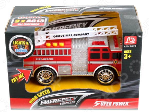 Машинка со светозвуковыми эффектами Shantou Gepai «Пожарная» LD2016B