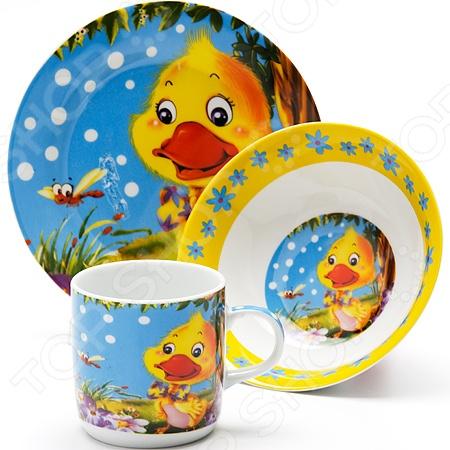 Набор посуды для детей Loraine LR-24023 «Утенок» набор посуды loraine фея lr 24026 3 предмета детский