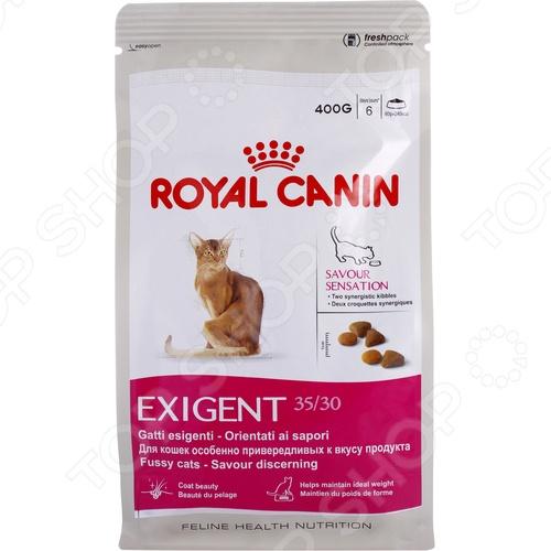 Корм сухой для привередливых кошек Royal Canin Exigent 35/30 Savour SensationСухой корм<br>Корм сухой для привередливых кошек Royal Canin Exigent 35 30 Savour Sensation полноценный и комплексный рацион для вашего питомца. Высокий уровень питательности и усвояемости, оптимальное содержание всех необходимых веществ, витаминов и антиоксидантов делают этот корм идеальным решением для кошек с особо требовательным отношением к еде и её содержимому. Корм включает в себя только ингредиенты натурального происхождения, а оригинальный и высокопривлекательный вкусовой комплекс, форма и текстура понравится даже самым привередливым и капризным кошкам. Сбалансированное сочетание белков, жиров и минералов делает корм максимально полезным для питомца, так как позволяет поддерживать его стабильный вес. Корм обогащен биотином и маслом огуречника аптечного, что способствует красивой, ухоженной и здоровой шерсти. Как перевести кошку на новый сухой корм Royal Canin Exigent 35 30 Savour Sensation. Если вы решили начать кормить питомца кормом Royal Canin Exigent 35 30 Savour Sensation, это следует делать постепенно. Чтобы кошка быстрее усвоила новый вид корма, смешайте привычное для неё питание с хрустящими гранулами. В последующие 7 дней понемногу увеличивайте содержание сухого корма, до тех пор пока она полностью не перейдет на него. Норма кормления. Для нормального самочувствия вашей кошки следует придерживаться следующей рекомендуемой суточной нормы:       Вес кошки кг     2     3     4     5       Количество корма г     30     45     60-65     75-80    Внимание! Всегда следите за тем, чтобы у вашей кошки была чистая и свежая вода в миске.<br>
