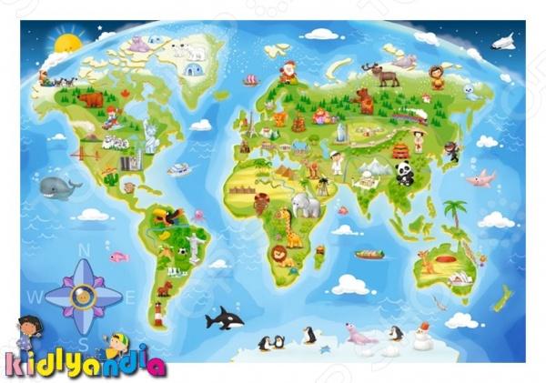 Пазл 40 элементов Castorland «Карта мира» castorland пазл для малышей в аэропорту