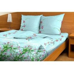 фото Комплект постельного белья с бамбуковыми волокнами. 2-спальный. Цвет: голубой. Модель: Романтика