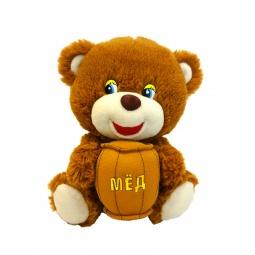 фото Мягкая игрушка со звуком Maxiplay «Мишутка с бочонком меда»